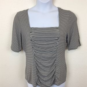 WHBM Super Flattering Ruched Front Stripe Shirt XL